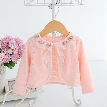 Wholesale 5pcs/lot Baby Girls Cardigan Pink Baby Cotton Flowers Birthday Party Baby Clothes 2018 Autumn Shawl Girls Clothes 0-2T