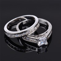 New Jewelry Lover S CZ White Gold Rhodium Plated Bridal Wedding Rings Direct Engagement Princess Cut