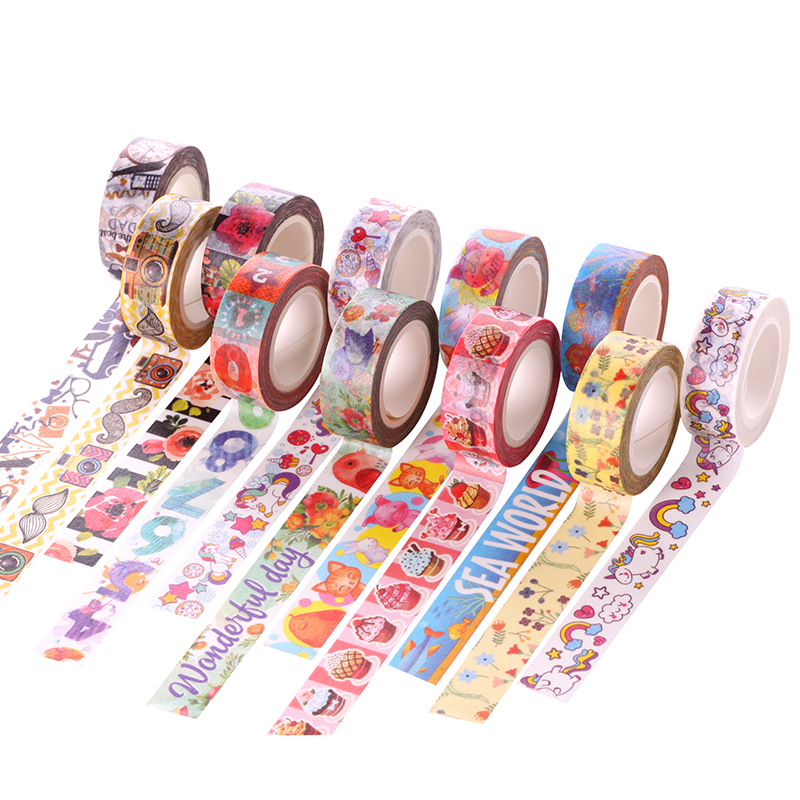 26 Style Cartoon Decorative Washi Tape Diy Scrapbooking Masking Tape School Office Supply Escolar Papelaria 10m*15mm