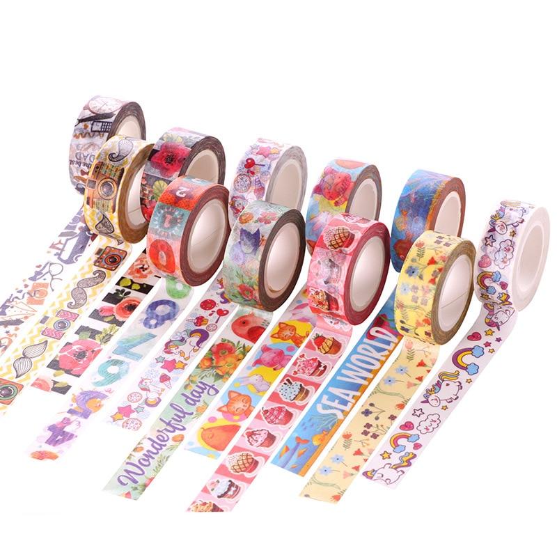 26 Style Cartoon Decorative Washi Tape Diy Scrapbooking Masking Tape School Office Supply Escolar Papelaria 10m*15mm