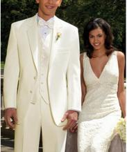 MS9 2017 Ivory New Groom Tuxedos Men Wedding Suits Ternos De Noivo Formal Business Suits Tuxedos For Men Jacket+Pants+Vest