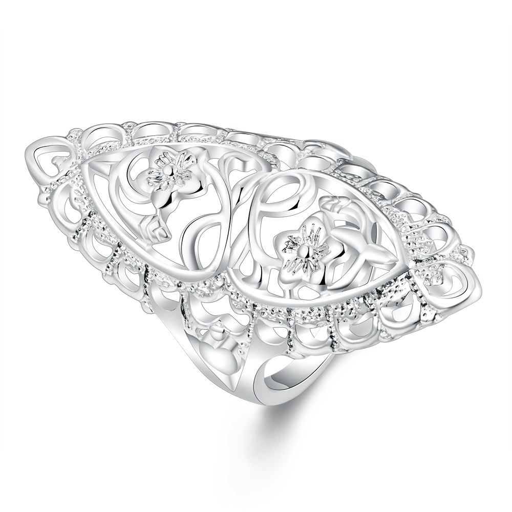 Christmas gift for women girl Retro hollow ring Lovely Wedding party silver plated ring Cute noble fashion classic Jewelry R698