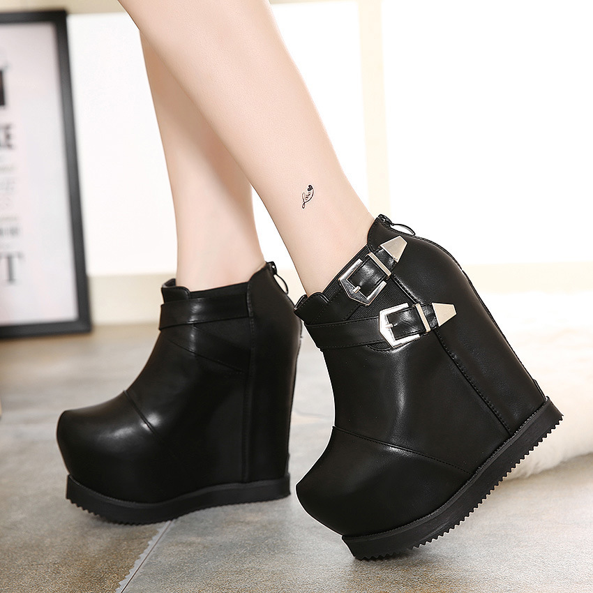 Women's Round-Toe Closed-Toe High-Heels Boots with Zippers and Wedge