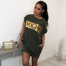 Womens Casual Summer Top Short Sleeve VOGUE tee shirt femme