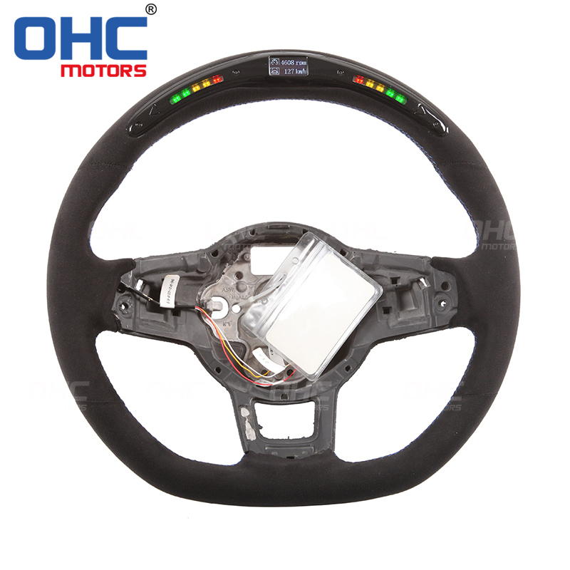 Suede Leather Italian ACL LED <font><b>Steering</b></font> <font><b>Wheel</b></font> compatible for Volkswagen <font><b>GOLF</b></font> <font><b>7</b></font> MK7 forGTI GTD GLI GT GTE R LINE PASSAT TIGUAN image