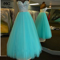 Elegant 2018 A Line Prom dresses Long with Beaded Stones Sweetheart Women's dress for graduation Tulle Formal Evening Prom Dress