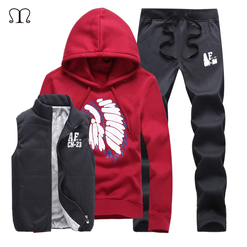 Print Hoodies Men 2017 Fashion Tracksuit Woman Warm Fleece Hooded Winter 3 Pieces Men Thick Fur Clothing Couple Hooded Sets 5XL