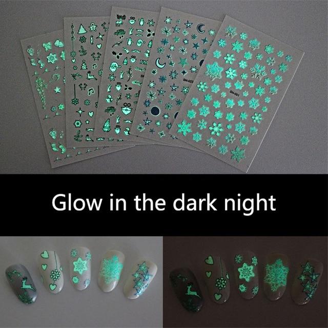 Nail art sticker glow in the dark night sneeuwvlok bell note hart patroon zelfklevende DIY nail art lichtgevende stickers RA028