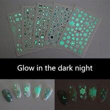 Nail naklejka artystyczna świecące w ciemności noc snowflake bell uwaga serce wzór samoprzylepne DIY nail art świecące naklejki RA028