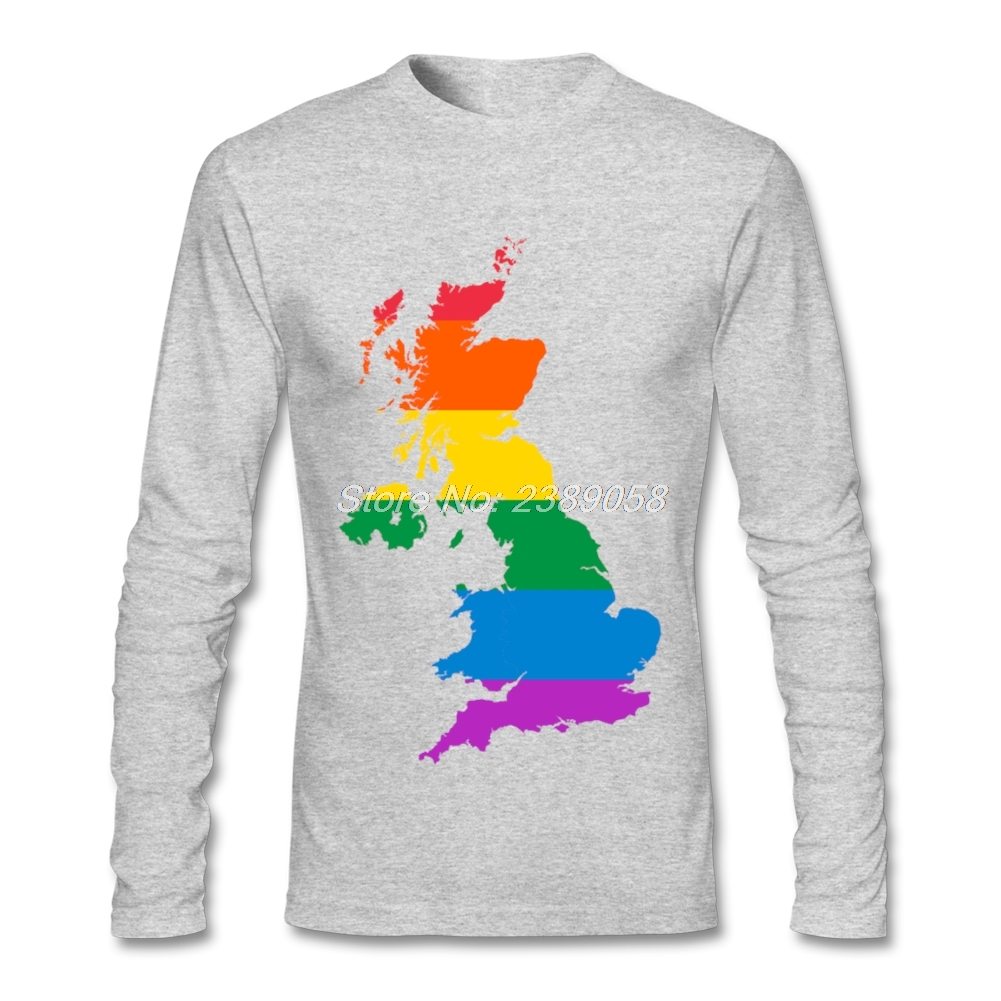 Design your own t shirt cheap uk - Men S T Shirt Fashion Print Rainbow Uk Flag New Coming T Shirt Summer Cotton Long