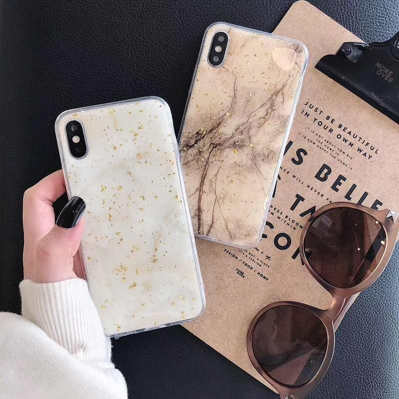 Stone marble pattern Tin gold foil soft shell phone case For Apple iPhone 6 6s 8 7 Plus XR 10 X XS Max cover fundas soft tpu
