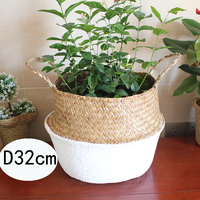 Folding Flower Pot Straw Basket Storage Baskets Flower Hanging Baskets Home Storage Basket Garden Pot Planter