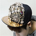 2015 Hot Sale Special Snapback Hat Summer Lovers Rivet Hiphop Cap Rhinestone Leopard Head Skull Hip hop Baseball caps casquette