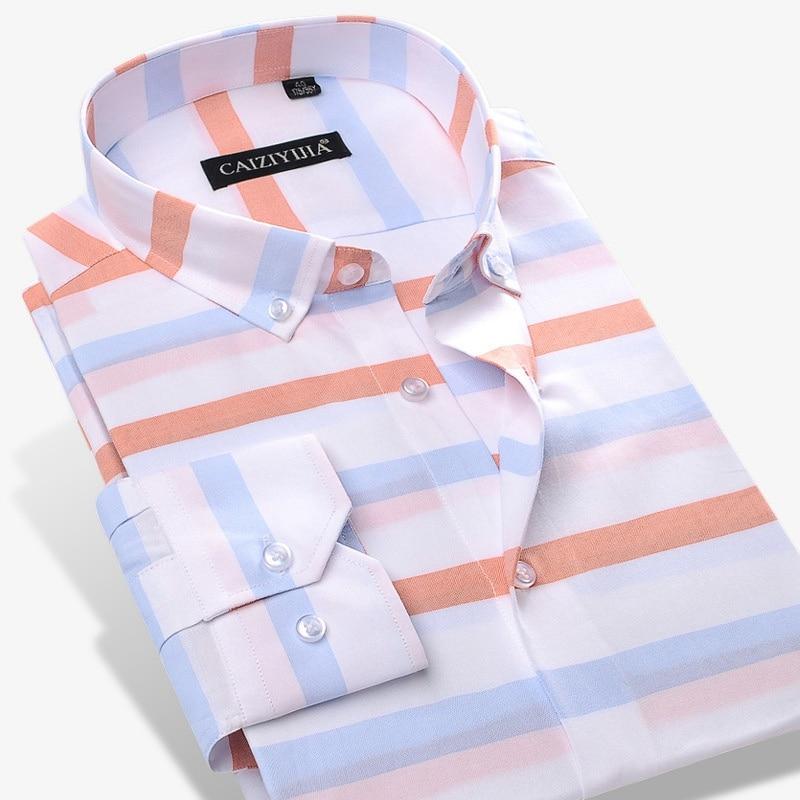 100% Baumwolle Hohe Qualität Männer Gestreiften Kleid Shirts Formale Business Taste-unten Tops Sozialen Männer Nicht-eisen Dünne Fit Casual Shirt Reich An Poetischer Und Bildlicher Pracht