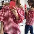 2017 MTTUZB new mulheres sexy de slash neck tops de lady moda red grade camisa de manga t sopro das mulheres casuais de manga comprida t camisas S M L