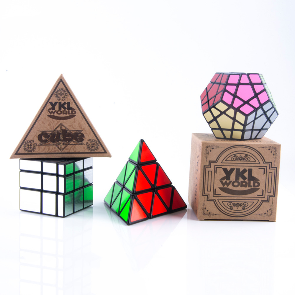 YKLWorld 3pcs/Pack Pyramid Pyraminx Magic Puzzle + Dodecahedron Megaminx Speed Cube + 3x3x3 Profiled Mirror Magic Cubes Set -45