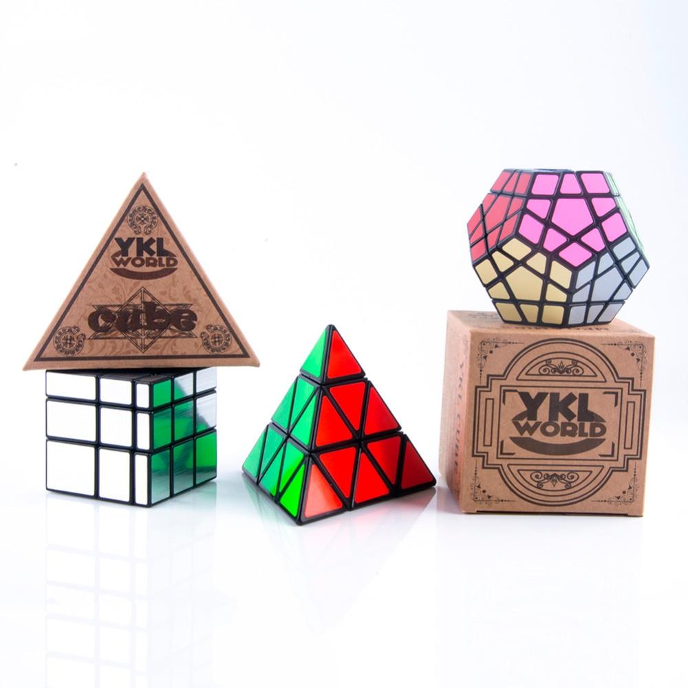 YKLWorld Cube Set Triangle Pyramid Pyraminx Magic Cube Dodecahedron Megaminx Speed Cube 3x3x3 Profiled Mirror Magic