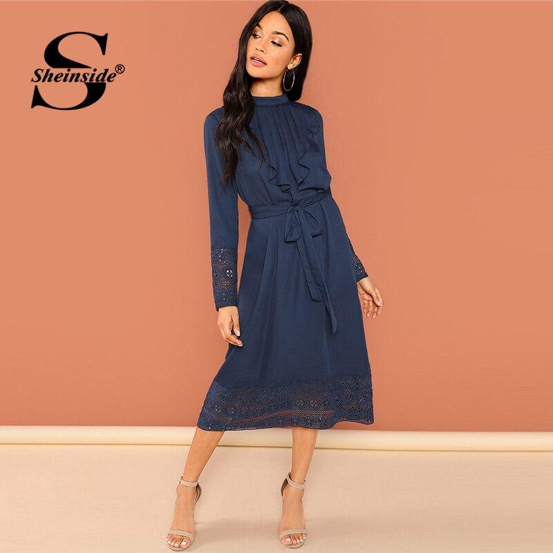 Sheinside Navy Pleated Ruffle Lace Trim Dress Women Belted Elegant Midi Dresses Office Ladies A Line Long Sleeve Party Dress