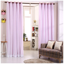 Melody solid fabric full black out window curtains with voile face purple light shading drapefor bedroom process finished size