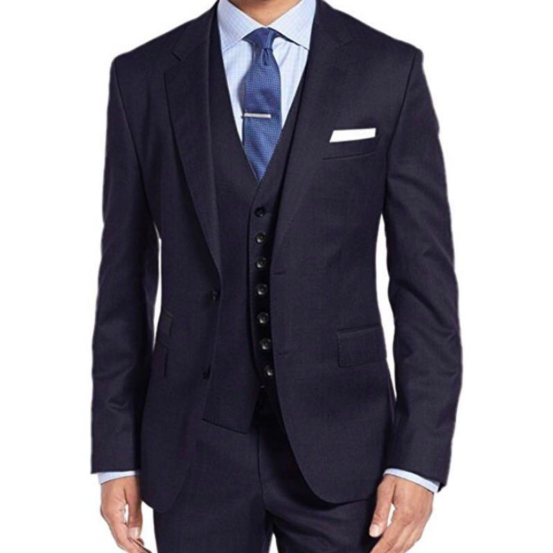 Navy Blue Business Men Suits Notched Lapel 3 Piece Wedding Groom Tuxedos New Formal Style Male Set Jacket Pants Vest
