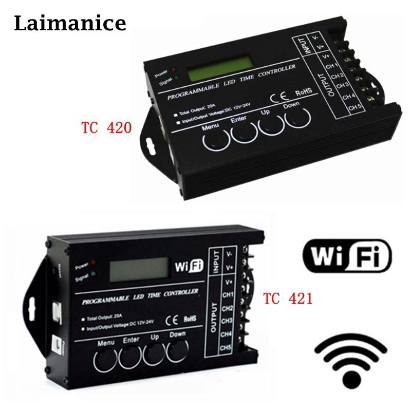 DC12 DC24V TC420/TC421 WiFi zeit programmierbare led controller dimmer RGB aquarium beleuchtung timer eingang 5 kanäle für led streifen