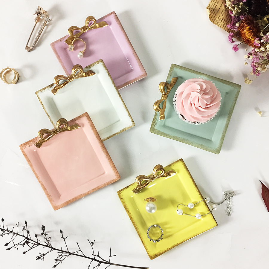 1PCS Bowknot Resin Square Plates Decoration Crafts Snack Candy Cake Storage Tray Rings Jewelry Dish Snack Dish For Wedding Gifts