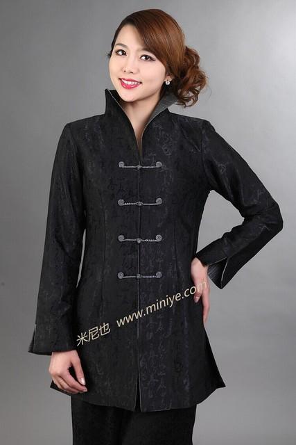Venda quente chinês preto das mulheres Satin Jacket mandarim Collar longo exteriores botão tradicional impresso Costume tamanho S a XXXL T046