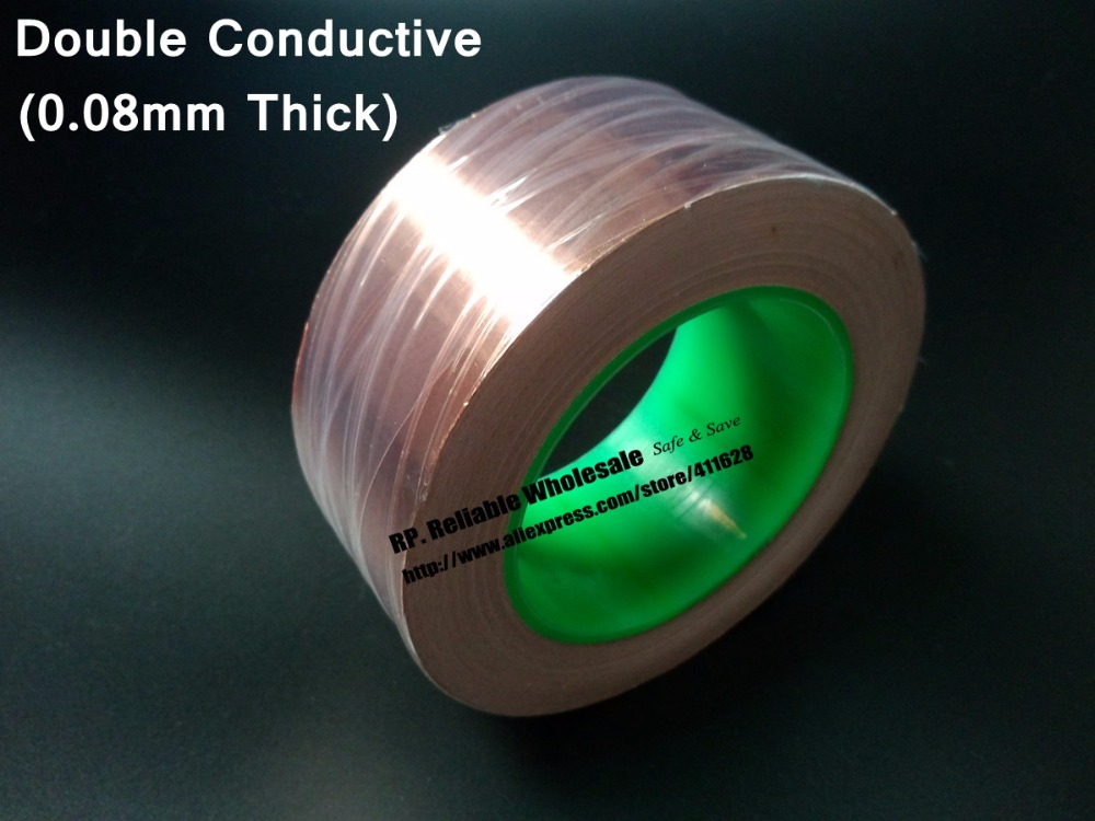 60mm*30M*0.08mm thick Single Glue, Two Sides Conductive Copper EMI Shielding Foil Tape fit for Transformer, Cellphone 100mm 30m 0 08mm thick single sticky double sided conductive copper emi shielding foil tape fit for transformer cellphone