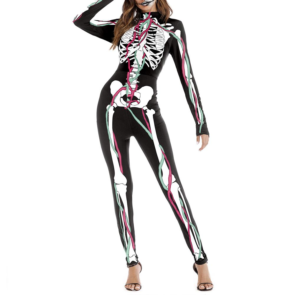 New Women Clothes Long Sleeves One-piece Cosplay Halloween Skull Blood Bandage Muscle 3D Print Festival Stage Punk Clothes