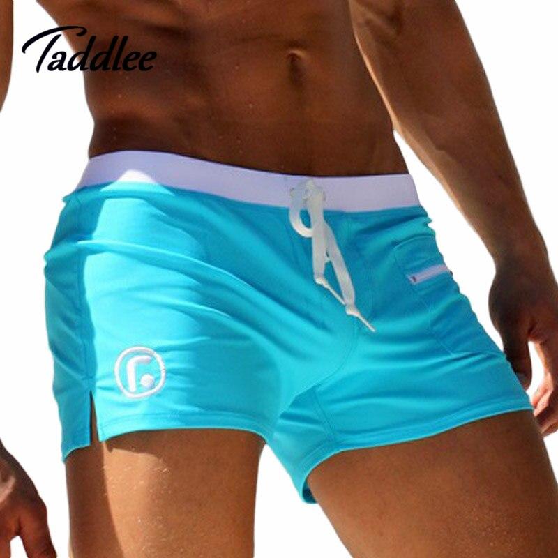 Taddlee de los hombres de la marca de baño trajes de baño de natación Boxer Shorts enlaces bolsillo Mens nadar boxeadores playa pantalones cortos de Surf traje de baño