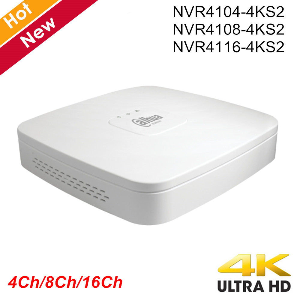 D'origine Dahua avec Logo NVR4104-4ks2 NVR4108-4ks2 NVR4116-4ks2 Intelligent 1U Mini NVR H.265 8mp 4ch 8ch 16ch Enregistreur Vidéo Réseau