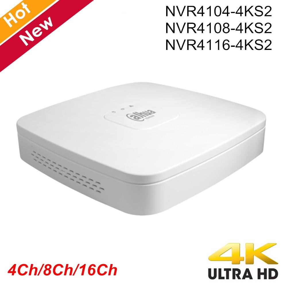 Dahua original com logotipo NVR4104-4ks2 NVR4108-4ks2 NVR4116-4ks2 inteligente 1u mini nvr h.265 8mp 4ch 8ch 16ch rede gravador de vídeo
