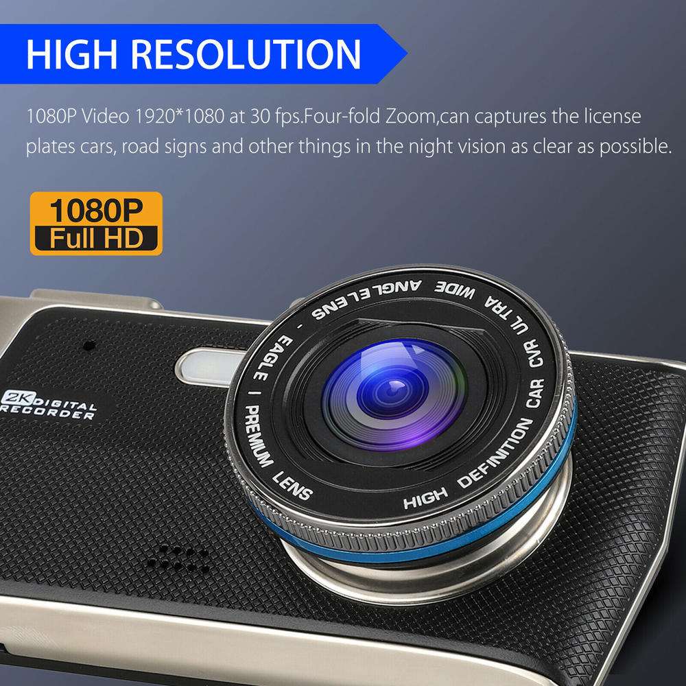 4inches Car DVR 1080P Dual Lens Dash Cam Video Recorder Front And Rear Camera LCD
