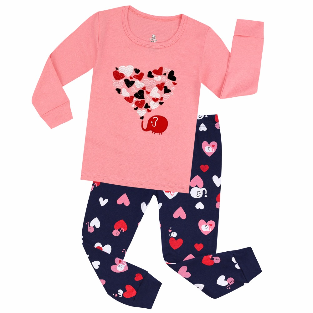 100 Cotton Baby Pajamas Children Emboridery Heart Pajama Pyjamas Kids For 2-7Years Children's Sleepwear Baby Nightwear Pijamas(China)
