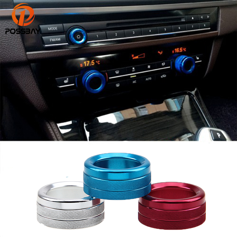 POSSBAY Car Air Conditioning Heat Control Switch Knob Silver Blue Red Audio Knob Decorative Circle Trim for BMW 1/2/3 Series
