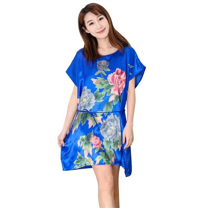 09007021f5 New Women Ladies Fuax Silk Sleepwear Robes Nightwear Shirt Sleep Night  Dress Nightgown Hot