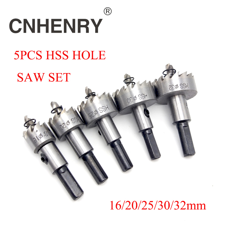 Free Shipping 5pcs 16/20/25/30/32mm HSS Core Drill Bit Hole Saw Cutter Set For Cuttting Stainless Steel Metal High-speed Steel 1 57 1 3 16 hss 6542 m2 stainless steel sheet high speed steel metal alloy hole saw cutter free shipping 40mm pipe drill bit