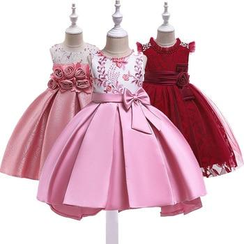 b40eceefc Niña princesa vestido de fiesta para niños cumpleaños boda elegante flor  vestidos de niño