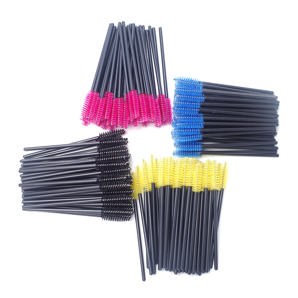 Cheap 50 Pcs Disposable Eyelash Brush Applicator Mascara Wands Applicator Spoolers Makeup Tool 4 Colors Choose