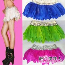 DJGRSTER Women Sexy Feather Singer Hip Hop Jazz Nightclub skirt Dance Rihanna Costume Stage Costumes For Singers Short skirts