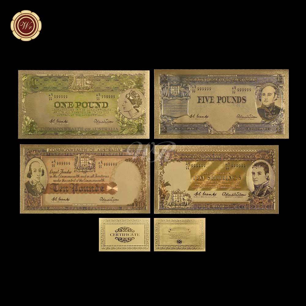 WR Australian Banknote 4pcs Set Coloré Vieux AUD Argent Plaqué - Décor à la maison - Photo 2