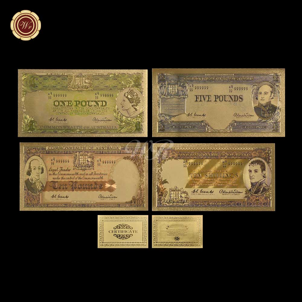 WR Australian Gold Banknote 4pcs Set Colorful Old AUD Gold Plated Paper Money Happy New  ...