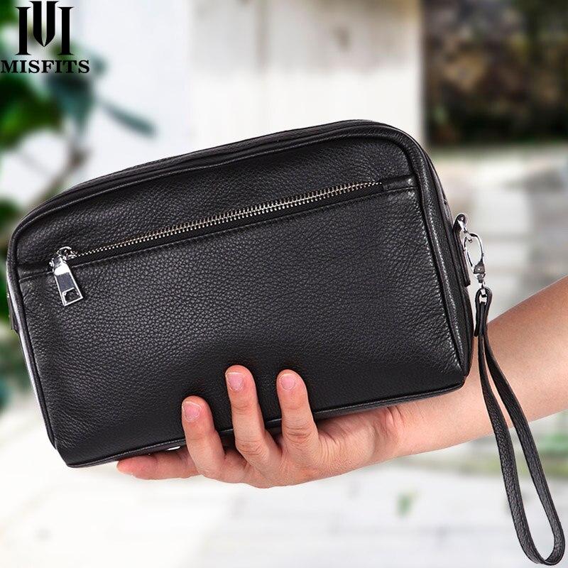 MISFITS new genuine leather men wash bag casual makeup bag travel cosmetic case handheld toiletry storage