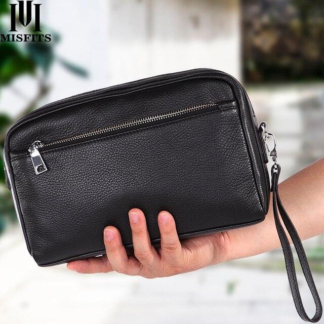 حقائب رجالي جديدة مصنوعة من الجلد الطبيعي حقيبة سفر للسفر حقيبة مستحضرات تجميل محمولة حقيبة كتف ماركة