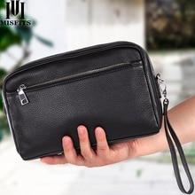 MISFITS neceser de mano de piel auténtica para hombre, bolsa de maquillaje informal, estuche de viaje para cosméticos, bolso de hombro de marca