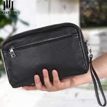 MISFITS new genuine leather men wash bag casual makeup bag travel cosmetic case handheld toiletry storage bag brand shoulder bag