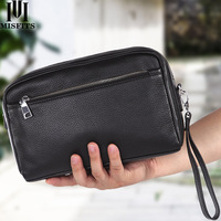 MISFITS new genuine leather men wash bag casual makeup bag travel cosmetic case handheld toiletry storage bag brand shoulder bag