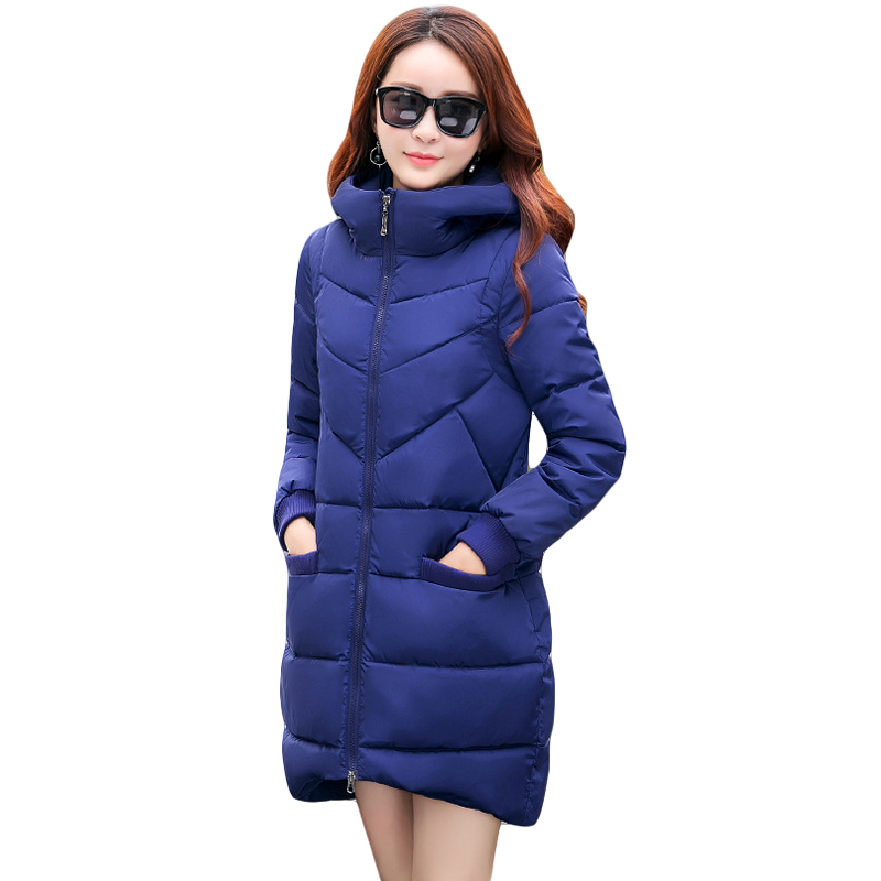 New 2017 Winter Hooded Jacket Women Cotton Wadded Overcoat Medium-long Slim Casual Fashion Parkas Female Denim Blue Coats CM1509 2017 new winter women warm hooded thicken slim wadded jacket woman parkas female ladies wadded overcoat long cotton coat cxm31