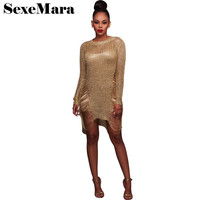 Sexy Crochet Gold Hollow Out Asymmetrical Sweater Dress Women Casual Pullover O Neck Long Sleeve Short