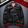 Design de moda Tigre Bordado Unisex Bomber Jacket 2016 Dos Homens PU de Couro Da Motocicleta Jaquetas Piloto TC190